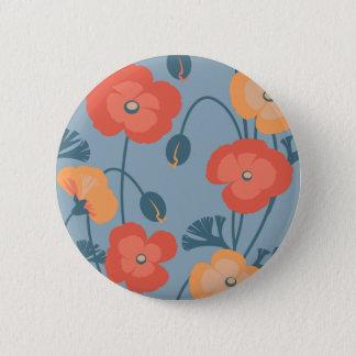 Colorful California Poppy Pattern Button