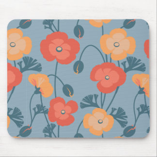 Colorful California Poppy Pattern Mouse Pad