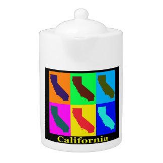 Colorful California State Pop Art Map Teapot