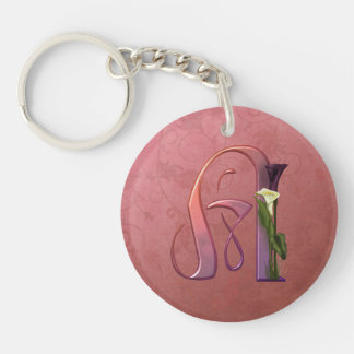 Colorful Calla Initial A Keychain