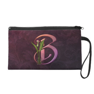 Colorful Calla Initial B Wristlet Clutches