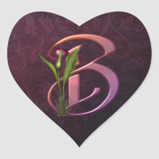 Colorful Calla Initial B Heart Sticker