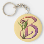 Colorful Calla Initial B Basic Round Button Keychain