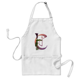 Colorful Calla Initial C Adult Apron