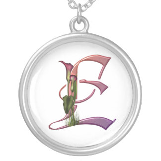 Colorful Calla Initial E Silver Plated Necklace