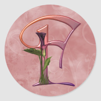 Colorful Calla Initial F Classic Round Sticker