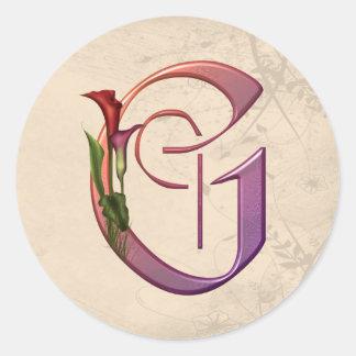 Colorful Calla Initial G Sticker