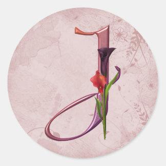 Colorful Calla Initial J Classic Round Sticker