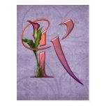 Colorful Calla Initial K Postcard
