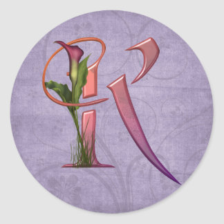 Colorful Calla Initial K Sticker