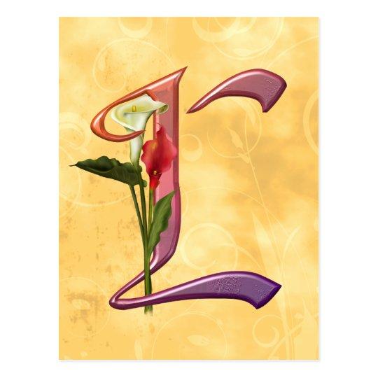 Colorful Calla Initial L Postcard