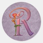 Colorful Calla Initial R Classic Round Sticker