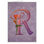 Colorful Calla Initial R Greeting Card