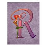Colorful Calla Initial R Postcard