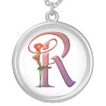 Colorful Calla Initial R Round Pendant Necklace
