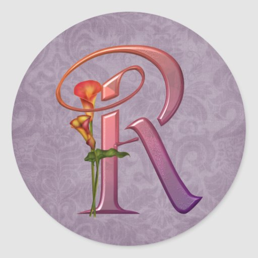 Colorful Calla Initial R Round Stickers