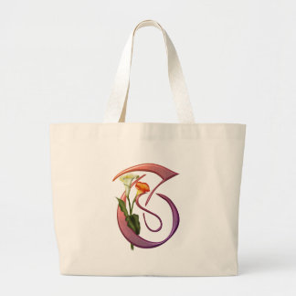 Colorful Calla Initial T Canvas Bag
