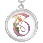 Colorful Calla Initial T Personalized Necklace