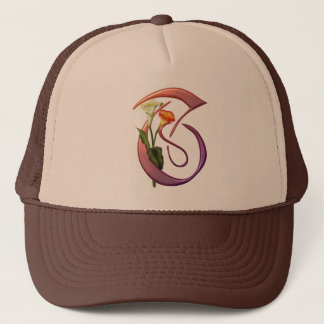 Colorful Calla Initial T Trucker Hat