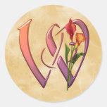 Colorful Calla Initial W Classic Round Sticker