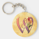 Colorful Calla Initial W Key Chains