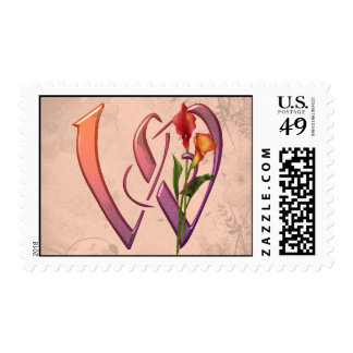 Colorful Calla Initial W Postage