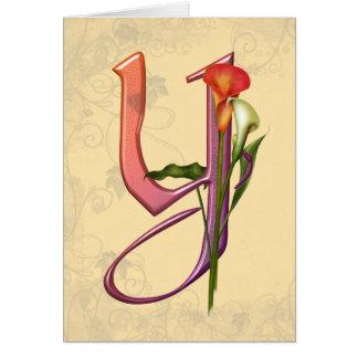 Colorful Calla Initial Y Card