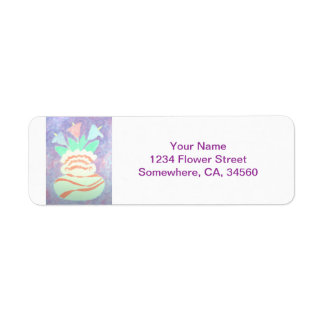 Colorful Calla Lilies in Vase Painting Label