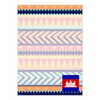 """Colorful Cambodia Flag Box 5"""" X 7"""" Invitation Card"""