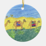 Colorful Camels Double-Sided Ceramic Round Christmas Ornament