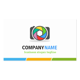 Colorful Camera Shutter Lens - Double Sided Design Business Cards