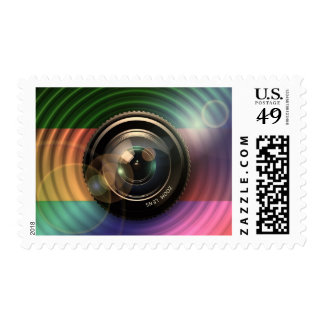 Colorful Camera Zoom Lens Photography Art Stamp