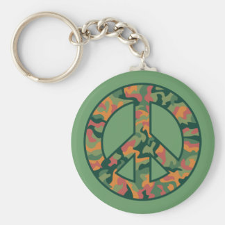 Colorful Camo Peace Keychain
