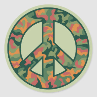 Colorful Camo Peace Round Stickers