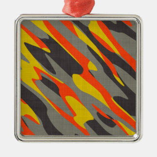 Colorful Camouflage Texture Metal Ornament