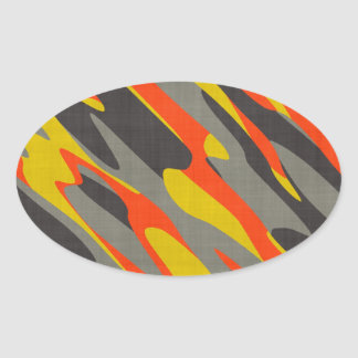 Colorful Camouflage Texture Oval Sticker