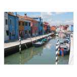 Colorful canal in Burano, Italy Post Cards