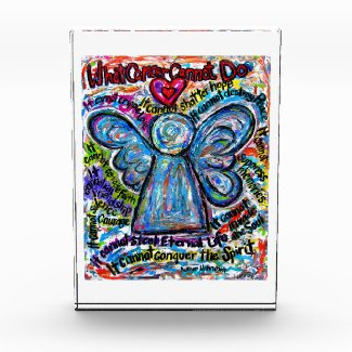 Colorful Cancer Angel Art Custom Paperweight Award