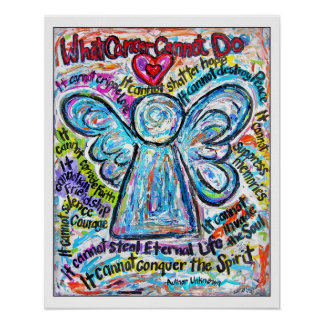 Colorful Cancer Angel Art Poster Print -White Edge