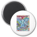 Colorful Cancer Angel Painting 2 Inch Round Magnet