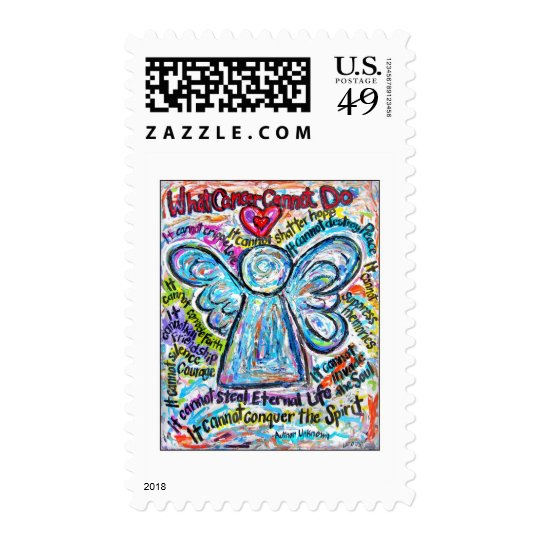 Colorful Cancer Angel Painting Postage