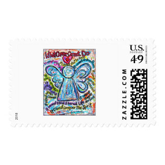 Colorful Cancer Angel Painting Stamp