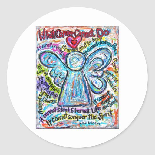 Colorful Cancer Angel Painting Round Sticker