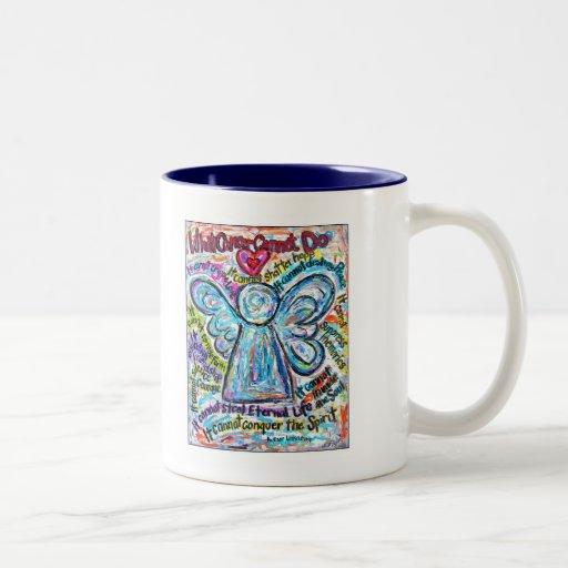Colorful Cancer Angel Painting Two-Tone Coffee Mug