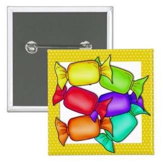 Colorful Candies 2 Inch Square Button