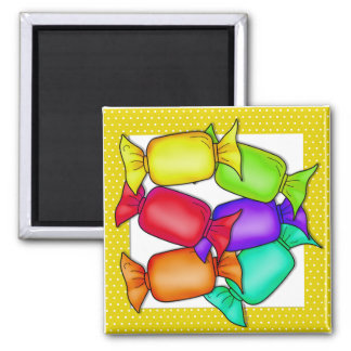 Colorful Candies 2 Inch Square Magnet