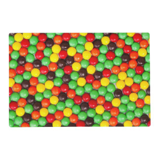 Colorful candies laminated placemat
