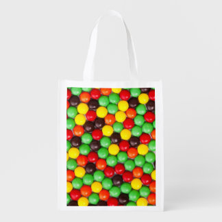 Colorful candies reusable grocery bags