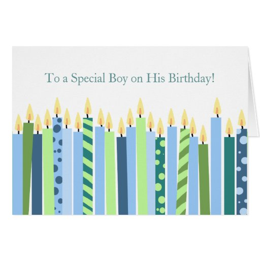 Colorful Candles Boys Birthday Card
