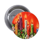 Colorful CAndles Seasons Greetings Button